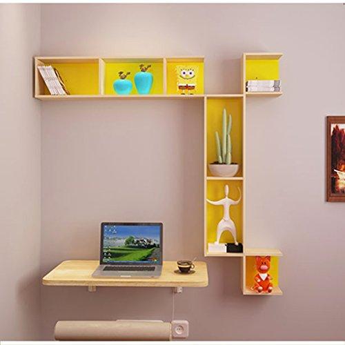 Tavolo Pieghevole a Muro/ad Angolo scrivania per Computer a Muro/Tavolo da Parete/salvaspazio (Color : Wood Color)
