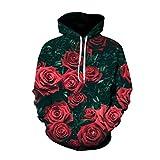YZFZYLW 3D Sweatshirt Unisex Hooded Outwear Herren Damen Print Schöne Pflanzen Rose Blumenmuster Hoodie Hooded Sweatshirt Top Coat, XXL