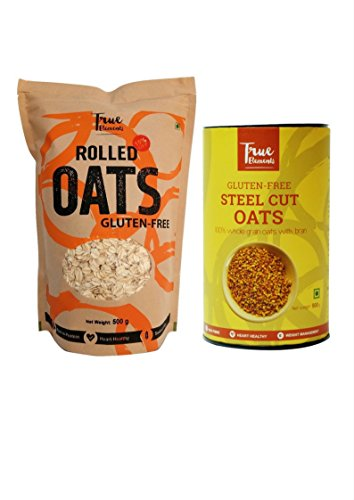 True Elements Breakfast Oats Combo (rolled Oats & Steel Cut Oats) 500g Each