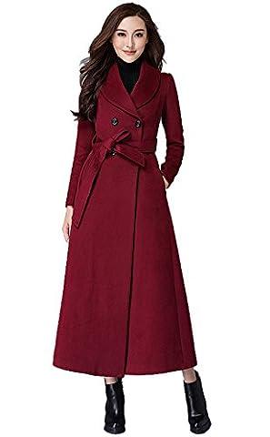 Insun Women's Lapel Collar Double Breasted Belt Trench Long Wool Coat M Burgundy