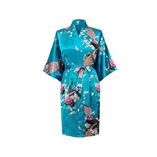 Brautbrautjunferrot Hochzeit Dressing Robe Graue Dame Kimono Badekleid Große Größe beiläufige Nachtwäsche, Blau A, M (Fleece-petite-robe)