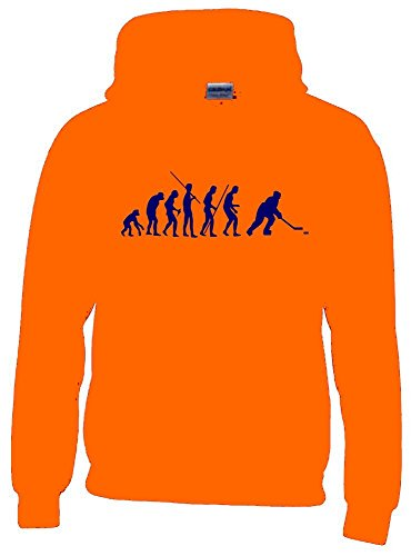 EISHOCKEY Evolution Kinder Sweatshirt mit Kapuze HOODIE orange-navy, Gr.128cm