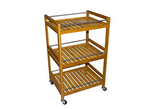 Sunny Times Küchenwagen Servierwagen Bambus, HBT: 74 x 48 x 38 cm, Küchenrollwagen mit 3 Böden, Beistellwagen und Küchentrolley, natur