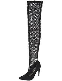 Ital-Design Overknees Damen-Schuhe Overknees Pump High Heels Reißverschluss Stiefel Schwarz, Gr 37, S-11-