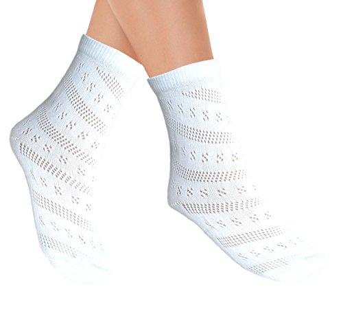 Damen Pointelle Mutterschaft Söckchen ohne Zehennähte für empfindliche Füße (35-38, 2 Paare Weiß)
