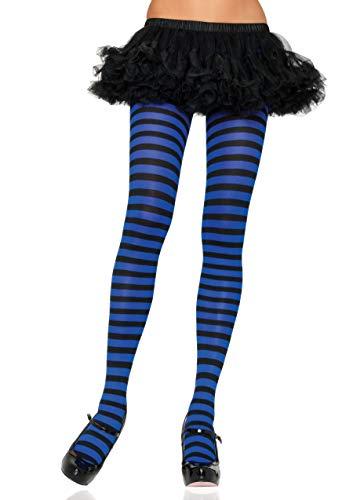 LEG AVENUE 7100 - Blickdichte Ringel-Strümpfhose Kostüm Damen Karneval, Einheitsgröße, schwarz/royal blau -