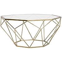 Tavolino Salotto Vetro E Acciaio.Tavolini Vetro Oro Casa E Cucina Amazon It
