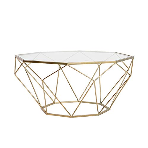 Zhilong tavolino da salotto in vetro temperato da salotto moderno in ferro battuto in acciaio temperato, oro/nero, 56 * 56 * 40cm (colore : oro)