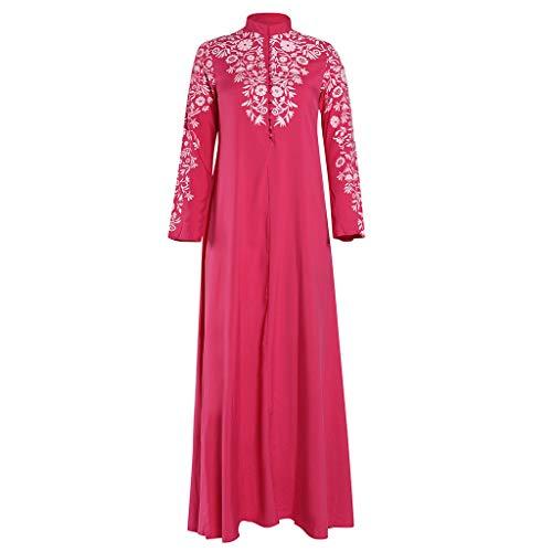 SSUPLYMY Frauen Vintage Kleid Ethnische Kleid Kleid Robe Frauen Langes Kleid Mit Blumenmuster Muslimische Vintage Langarm Kleid Frauen Abendkleid Kaftan Robe Maxikleid Kleidung - Detail-robe