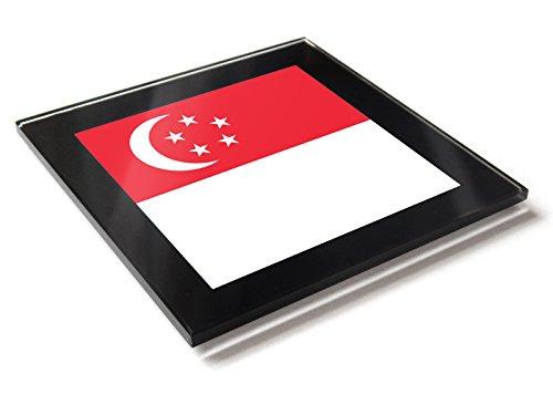 Glas-Tischuntersetzer mit Singapur-Flagge, mit Geschenkbox
