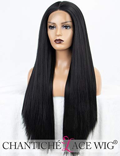 Chantiche Beste Yaki glatte schwarze Lace-Perücke Lange synthetische Haare Borte vordere Perücke für Damen halb handgebunden 24 Inches