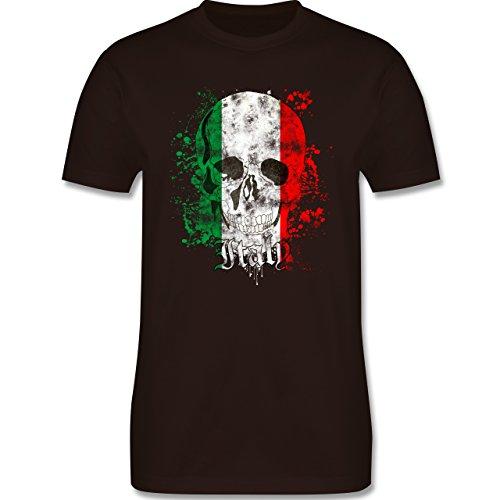 EM 2016 - Frankreich - Italy Schädel Vintage - Herren Premium T-Shirt Braun