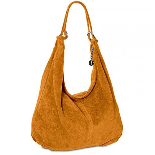 CASPAR TL617 Damen Vintage Veloursleder Tasche / Handtasche / Hobo Bag / Shopper Cognac