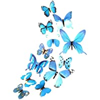 Logobeing 3D DIY Pegatina de Pared 12pcs Pegatinas Mariposa Decoración Del Hogar Decoraciones de La Habitación Nueva (Azul)