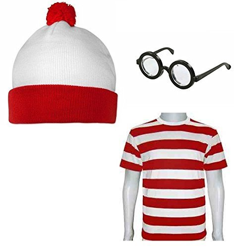 Men's Adults Fancy Dress Kit Red White T-shirt Hat Glasses (Men: (Wheres Wally Kostüm)