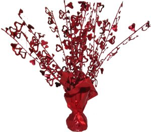 Red Foil Heart Balloon Weight Centerpiece - Pack of 5