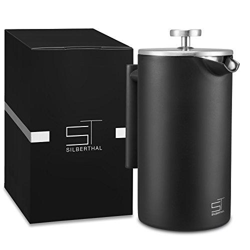 SILBERTHAL French Press 1 Liter – Edelstahl Kaffeebereiter Schwarz – Doppelwandig...