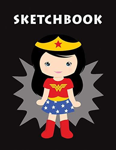 SKETCHBOOK: Cute Superhero Girl Blank Sketch Book, Draw, Journal & Doodle Creative Art for Girls, Kids, Teens &Women | Unlined Notebook Large 8.5