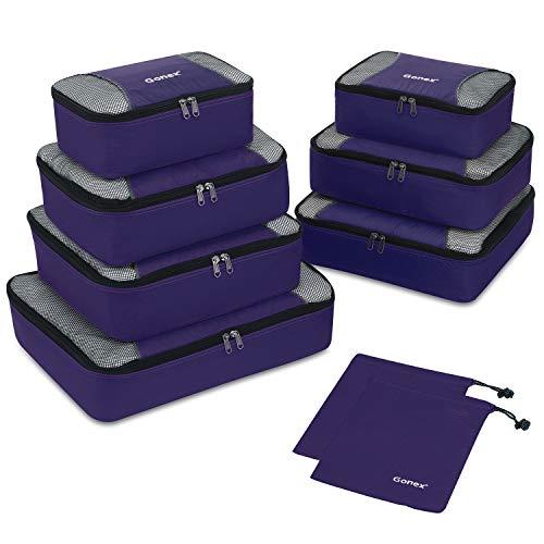 Gonex Set di 9 pezzi Cubi Organizzatori di Valigie Sacchetti Organizer a cubo dei Bagagli Borse di stoccaggio per viaggio Misura piccola media grande (porpora)
