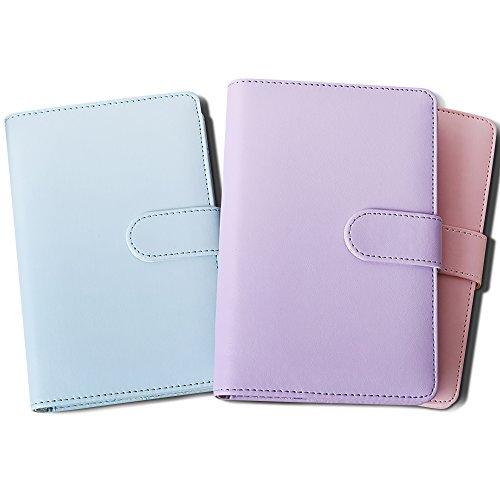 Zhi Jin, raccoglitore ricaricabile formato A6, in pelle, copertina utilizzabile come blocco note, dotata di portapenne Violet