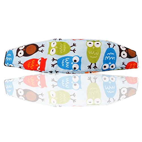 JJOnlineStore - Infant Baby Toddler Soft Cute Head Support Safety Pram Car Seat Neck Nap Relief Head Harness Belt Holder Animals Letters Owls (Blue)