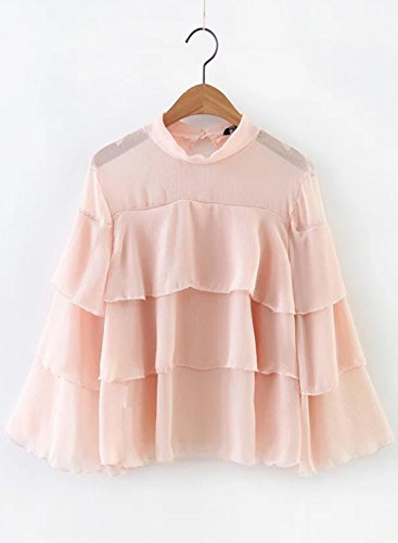 ACHICGIRL Women's Semi-Sheer Ruffled Pullover Blouse pink