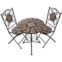 Hochwertiges Aufwendig Gearbeitetes Mosaik Tisch Set NA1514 B041+42  Stabiles Gartenmöbel Set, Balkonset