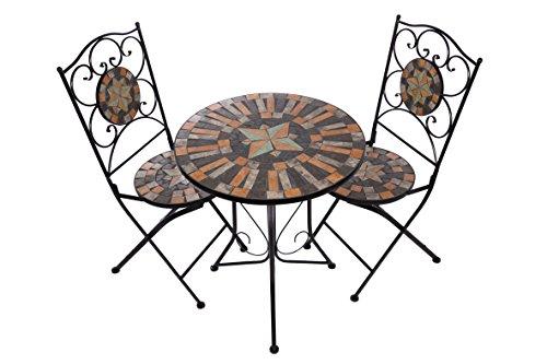Hochwertiges aufwendig gearbeitetes Mosaik Tisch Set NA1514-B041+42 stabiles Gartenmöbel Set,...