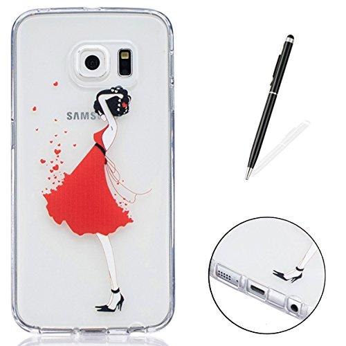 CaseHome Samsung Galaxy S6 Edge Silikon-Gel TPU Ultra Dünner Stilvoller Schöner Eleganter Netter Einzigartiger Prägeartiger Muster-Entwurf (mit freiem Griffel) Weicher Gummi-transparenter TPU Stoßdämp Red Kleid Mädchen