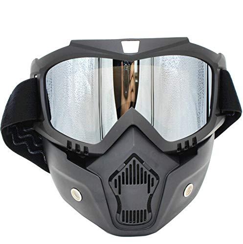 Adisaer Fahrradbrille Clear Retro Brille Lokomotive Maske Motorrad Helm Brille Brille Reiten Off Road Brille Silver Damen Herren