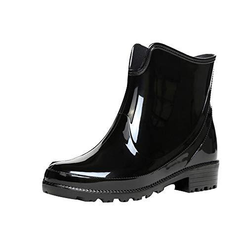 Frauen Regenstiefel mit Absatz Stiefeletten Elegant Kurzeschaft Gummistiefel Wasserdicht Schlupfstiefel rutschfest Outdoorschuhe Rain Boots Schuhe Strapazierfähige Schuhe Regenstiefel für Damen - Stiletto Prom Schuhe