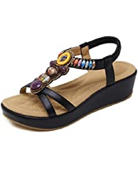 YMFIE Sandali open toe da donna, semplici da estate, comfort sandali antiscivolo, 36 EU, nero