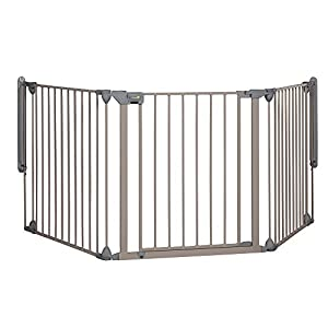 Safety 1st Modular Barrera de seguridad metálica para niños y perros, Reja de protección 3 Paneles, Plegable y Adaptable…
