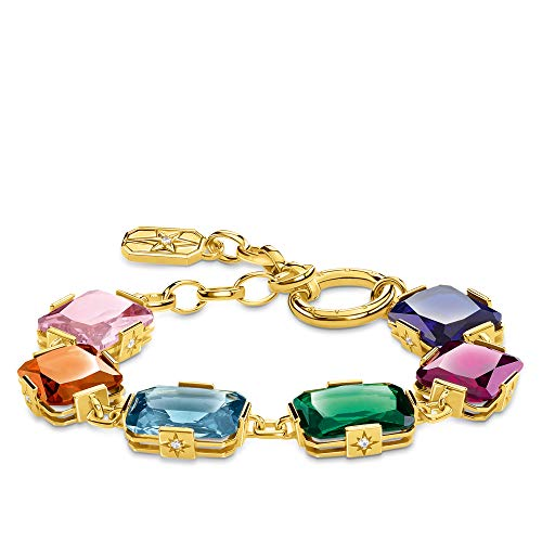 THOMAS SABO Damen Armband Große farbige Steine Gold 925 Sterlingsilber, 750 Gelbgold Vergoldung A1911-996-7