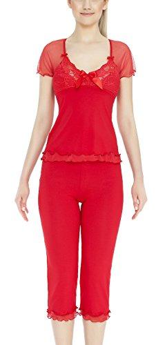 m.Lyra Damen Nachtwäsche Wäsche Set aus Viskose KIM (XS �?2XL) Rot