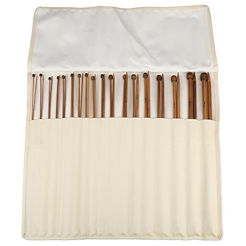 H&S Set of 36 Pcs Single Pointed Bamboo Knitting Needles Case 2mm - 10mm