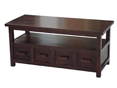 Homescapes Coffee Table cum TV Unit Walnut Shade 100% Solid Mango Wood Mangat Living Room Furniture, 110 x 50 x 50 cm
