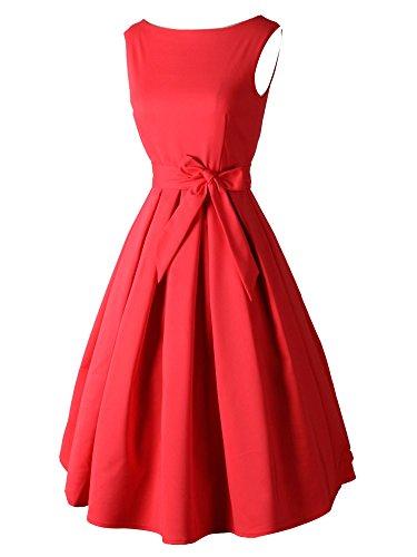 LUOUSE Robe Courte Classique année 50 Vintage Robe de soirée Rouge