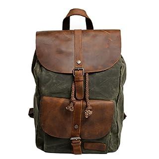 Neuleben Vintage Wasserdicht Rucksack Daypack aus Canvas Leder Damen Herren für Reise Outdoor Schule (Grün)