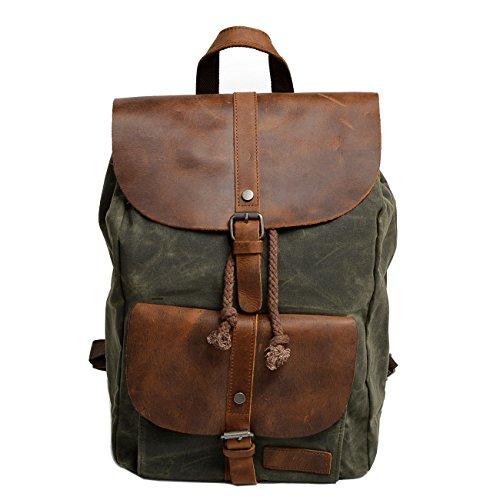 Herren Canvas Leder (Neuleben Vintage Wasserdicht Rucksack Daypack aus Canvas Leder Damen Herren für Reise Outdoor Schule (Grün))
