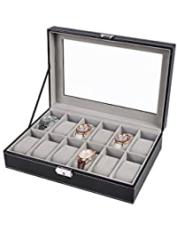 AWinEur Watch Box - Glass Lid 12 Slots Watch Jewellery Display Storage Box Case Bracelet Tray Faux Leather Black
