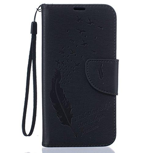 Custodia per iPhone 5, iPhone 5S, iPhone SE Custodia, con protezione per lo schermo in vetro temperato], fatcatparadise (TM) [Cavalletto] Elegante Vintage Pressed Feather Bird Pattern Design Retro Fli nero