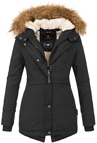 Marikoo Designer Damen Winter Parka warme Winterjacke Mantel Jacke B601 [B601-Schwarz-Gr.XL]