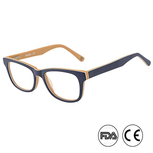 Blaulichtfilter Brille für Kinder und Jugendliche Anti Augenmüdigkeit Brille, blau-gelber Rahmen (TK4002C3 BLAU/BRAUN)
