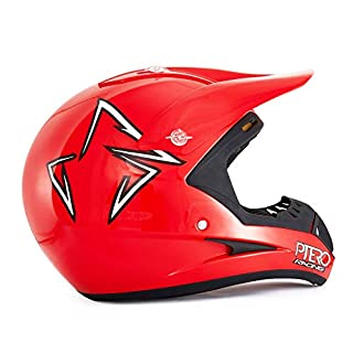 HD803 De La Moto De Motocross Casco * ECE 2205 APROBADO * Ruta Legal Offroad-Helm, Rot-XL