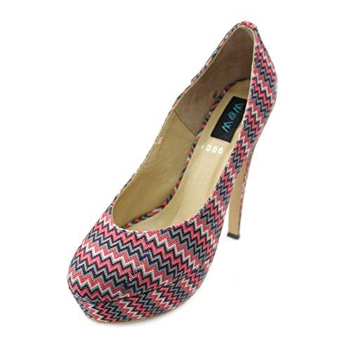 W & W Frauen Damen Abend Gerichte Schuhe High Heel Party Hochzeit Sandale Größe (Dolar) Grau Meliert