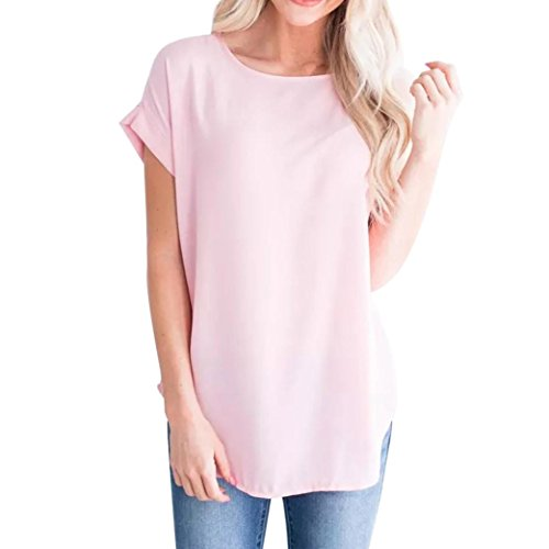 OYSOHE Damen Vogue Unifarben T-Shirt, Neueste Women Summer Casual Solid Chiffon Short Sleeve T-Shirt Tank Top Basic Sommer Blouse(07-Rosa,S) (Womens 07 T-shirt)