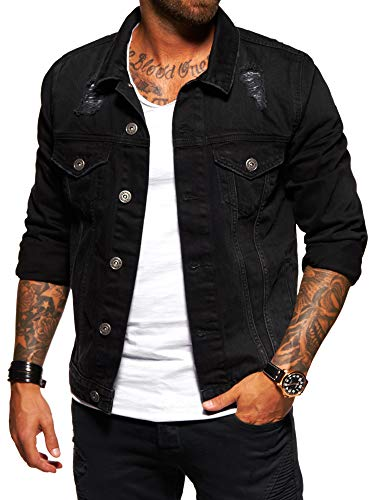 Herren-jeans-jacke-mantel (Behype. Herren Destroyed Jeans-Jacke Denim 55-0190 Schwarz M)