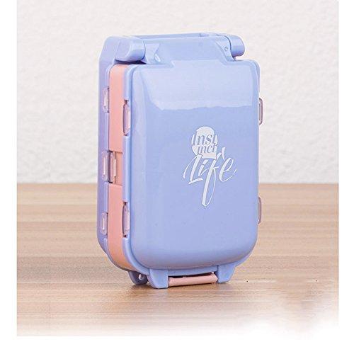 Shuxy Portabler Reiseveranstalter Rezept- und Medikamentenerinnerung Wöchentliche 7-Tage-Pillendose Taschenspender Schmuck Schrauben Container, 7 Fächer mit einer dritten Schicht, Blau Rezept Kästen Und Behälter