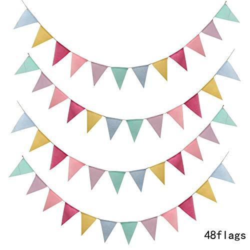 impelkette Wimpel Banner Wimpel Girlande Stoff Dekorationen Dreieck Flaggen Mehrfarbige Wimpel Banner Bunte Wimpelkette für Indoor, draussen Partei Dekoration ()